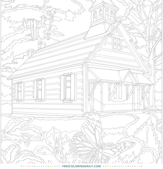 Free Vintage Church Coloring