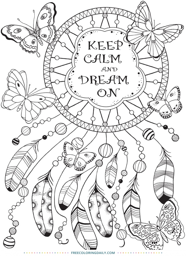 Free Dreamcatcher Quote Coloring Page