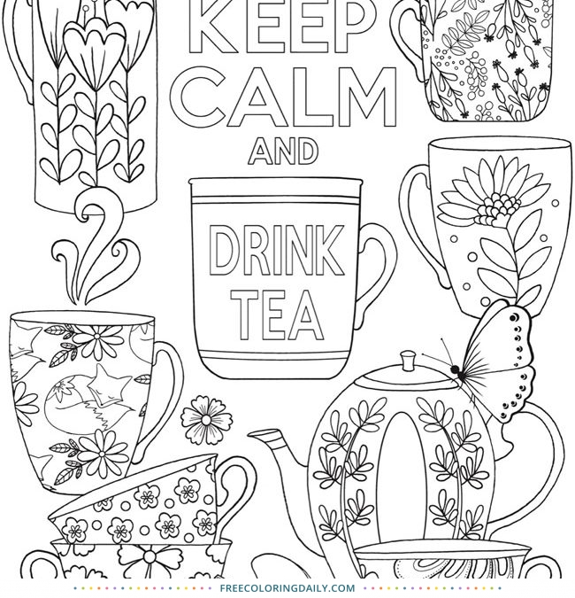 Free Drink Tea Coloring Page