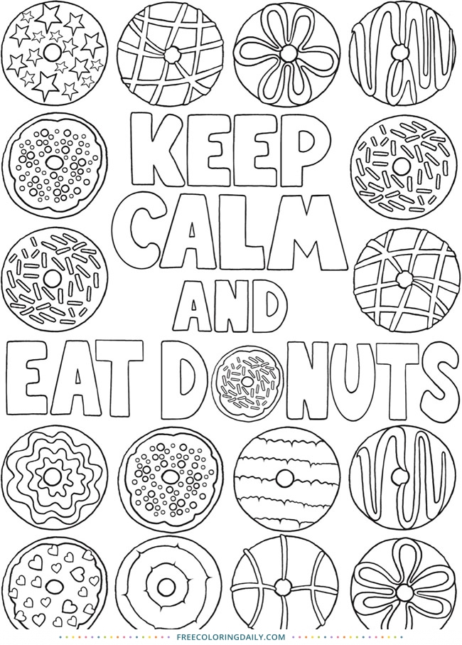 Free Eat Donuts Coloring Page
