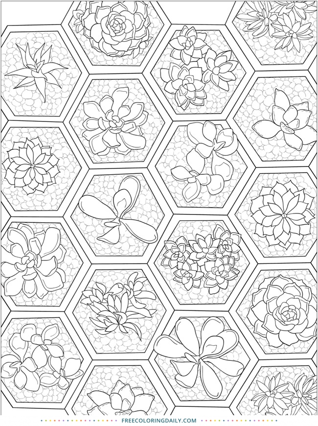 Free Floral Tiles Coloring Page