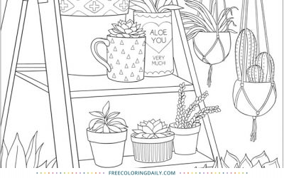 Free Potted Plants Coloring Page