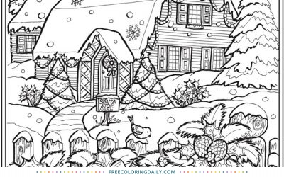 Free Snowy Christmas Coloring Page