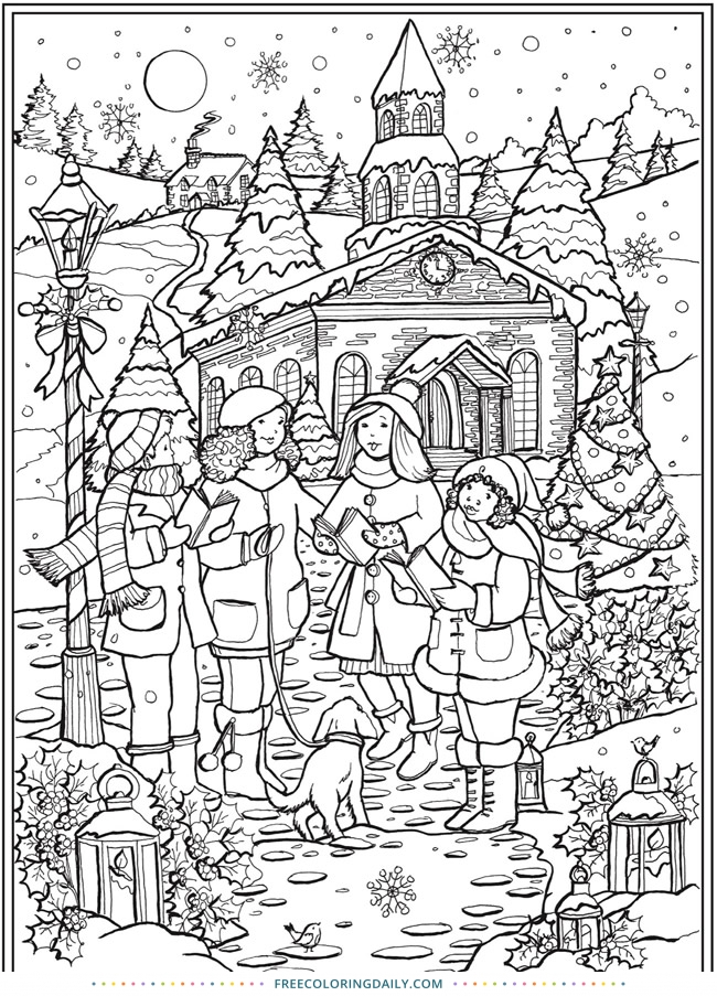 Free Christmas Carolers Coloring