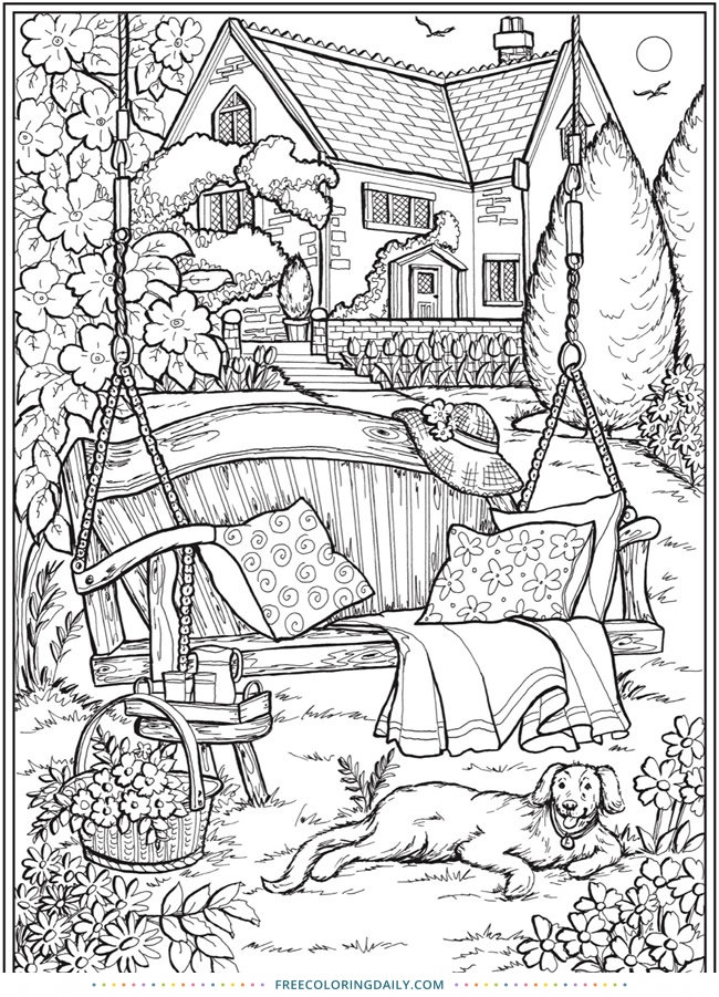 Free Outdoor Scene Coloring Page