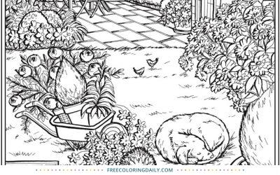 Free Pretty Garden Scene Coloring