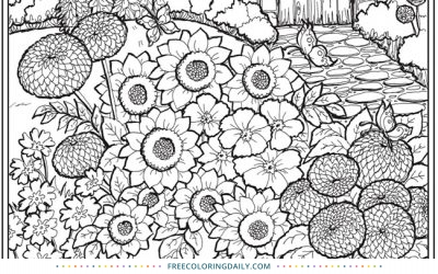 Free Lovely Garden Coloring Page