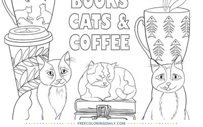 Free Books & Cats Coloring Page
