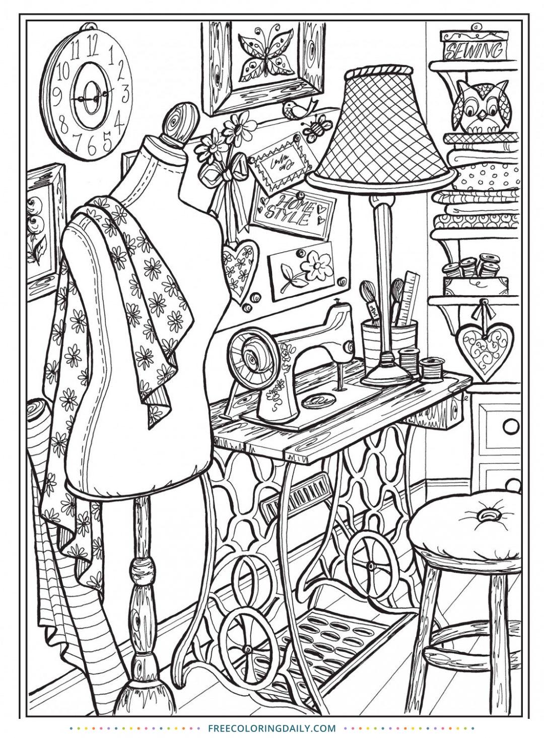 Free Vintage Sewing Coloring