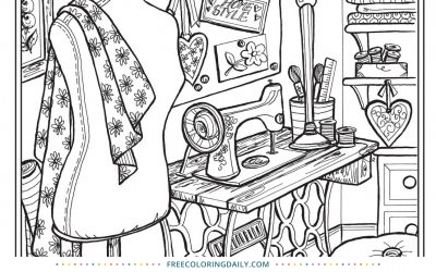 Free Vintage Sewing Coloring