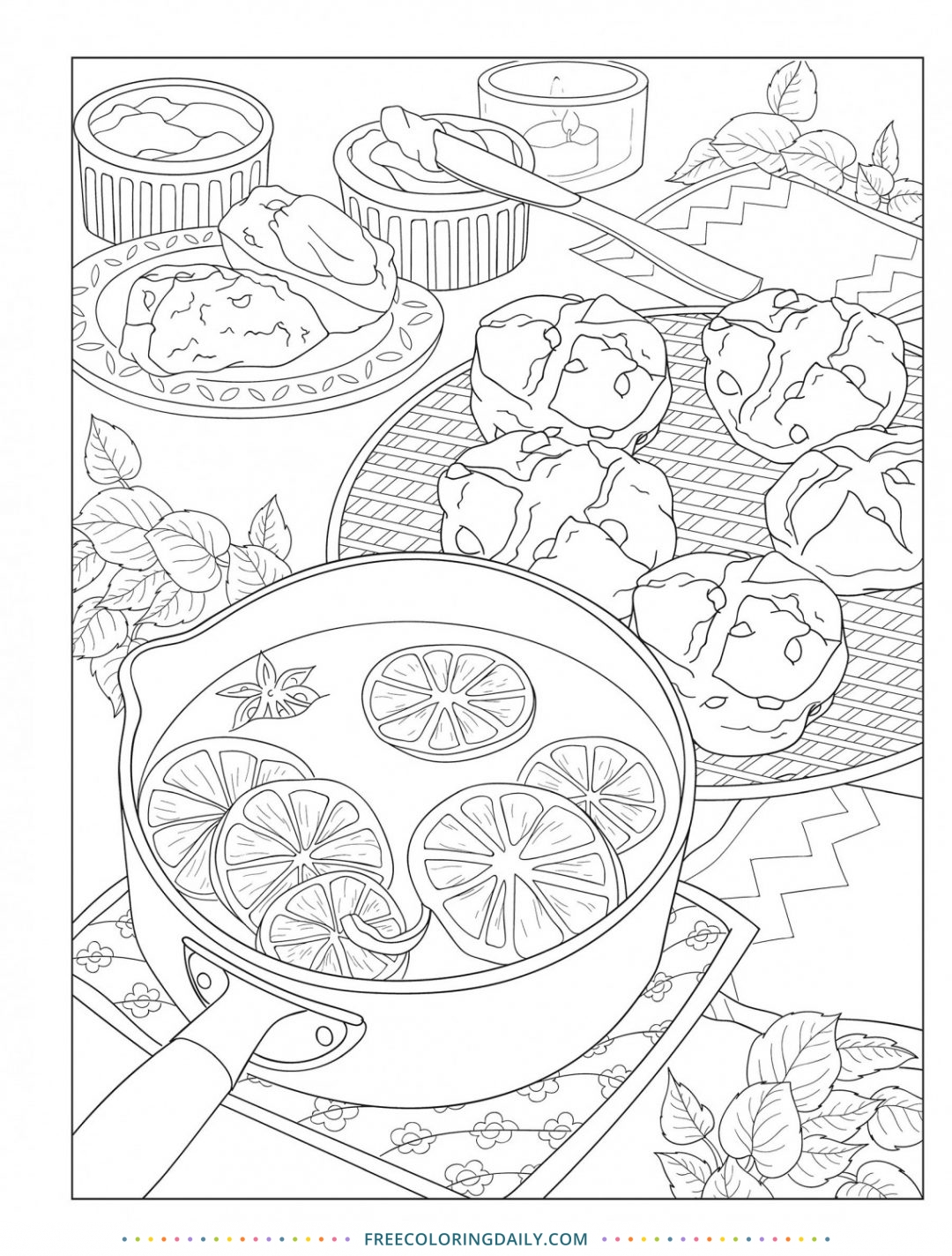 Free Baking Coloring Page