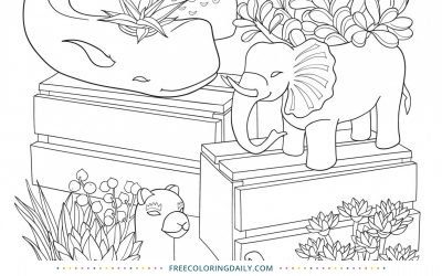 Free Cute Animal Cactus Coloring