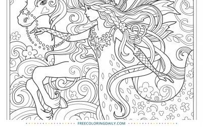 Free Beautiful Unicorn Princess Coloring