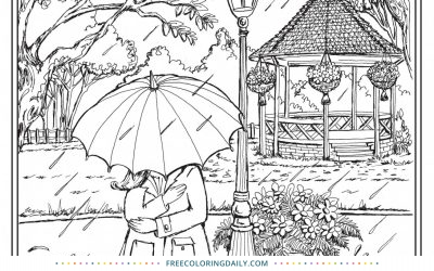 Free Kiss in the Rain Coloring