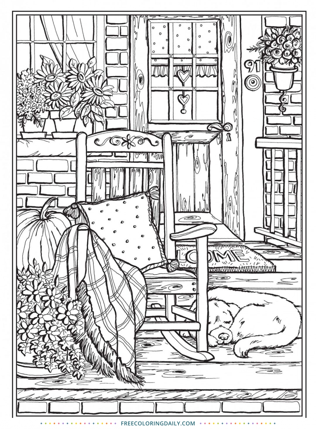 Free Front Porch Scene Coloring