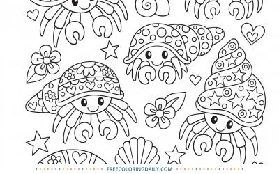 Free Cute Hermit Crab Coloring