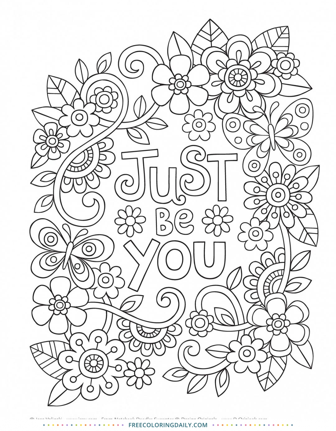 Free Lovely Floal Quote Coloring Page