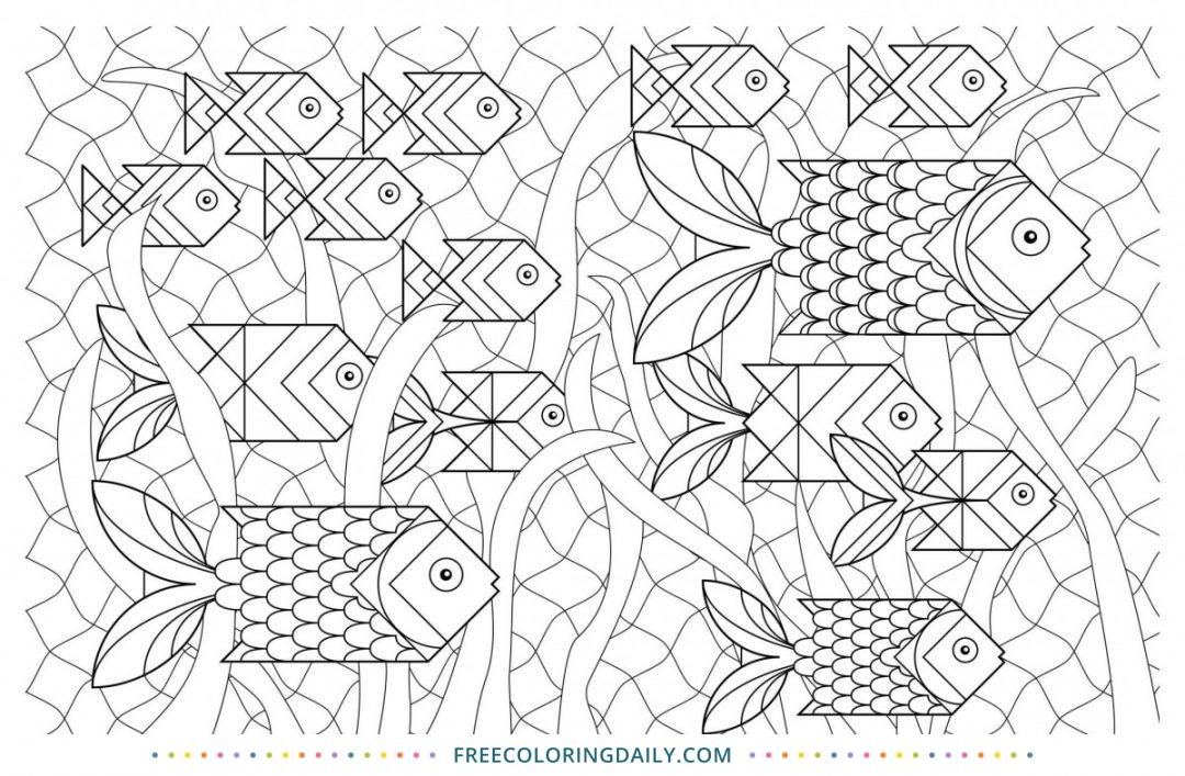 Free Geometric Fish Coloring Page