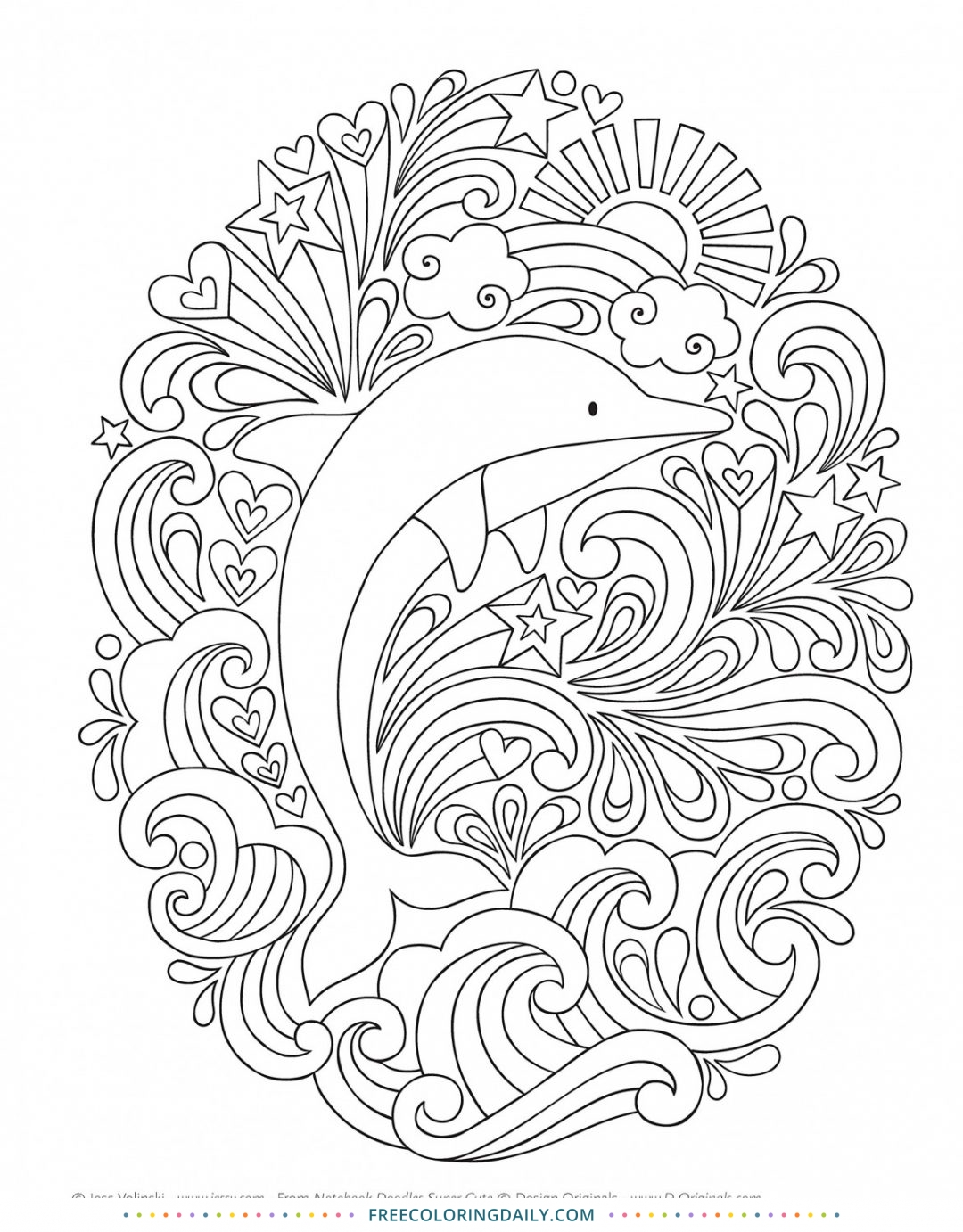 Free Delightful Dolphin Coloring