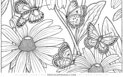 Free Pretty Butterflies Coloring Page