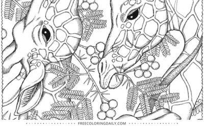 Free Giraffes Coloring Page