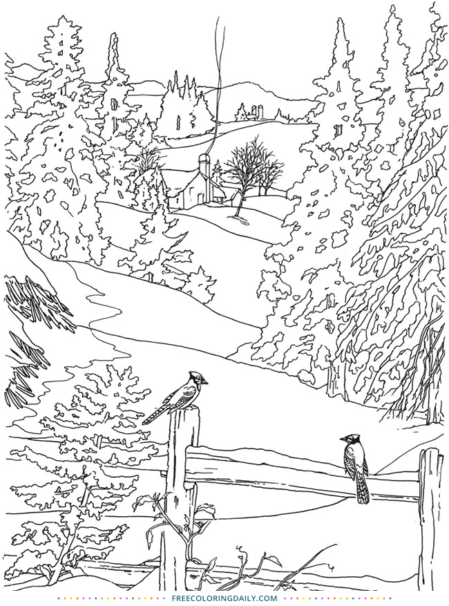 Free Snowy Day Coloring Page