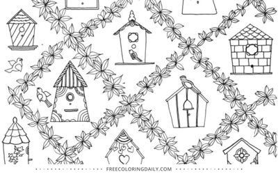 Free Cute Birdhouse Coloring Page