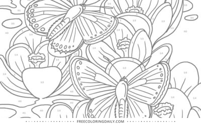 Free Color by Number Butterflies