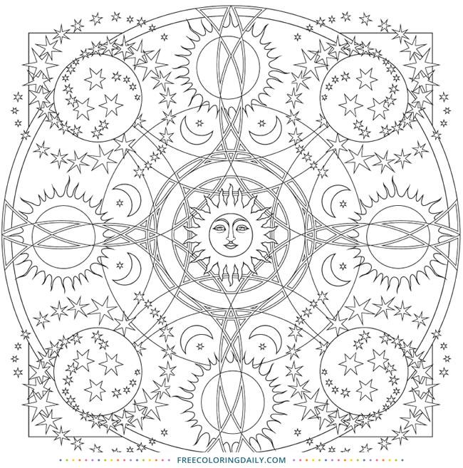 Free Sun & Stars Mandala