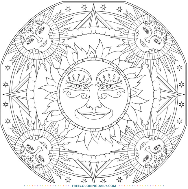 Free Sun Mandala Coloring Page