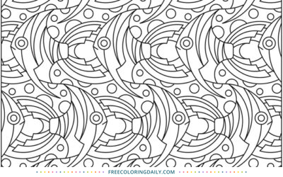 Free Fish Pattern Coloring Page