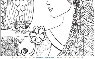 Free Owl Princess Coloring