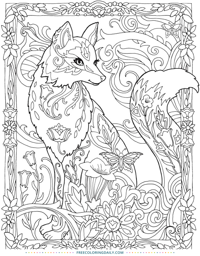 Free Lovely Fox Coloring