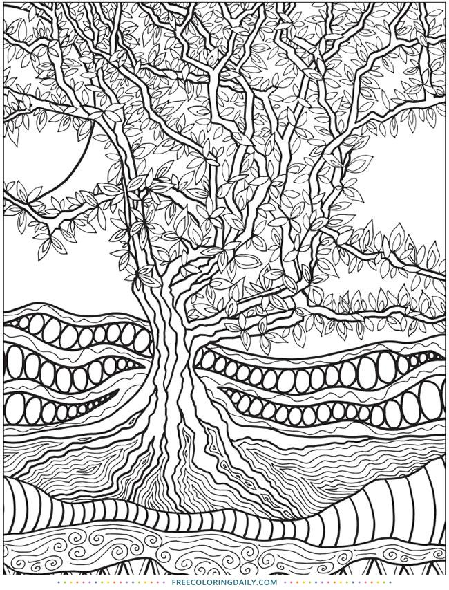 Free Zentangle Tree Coloring