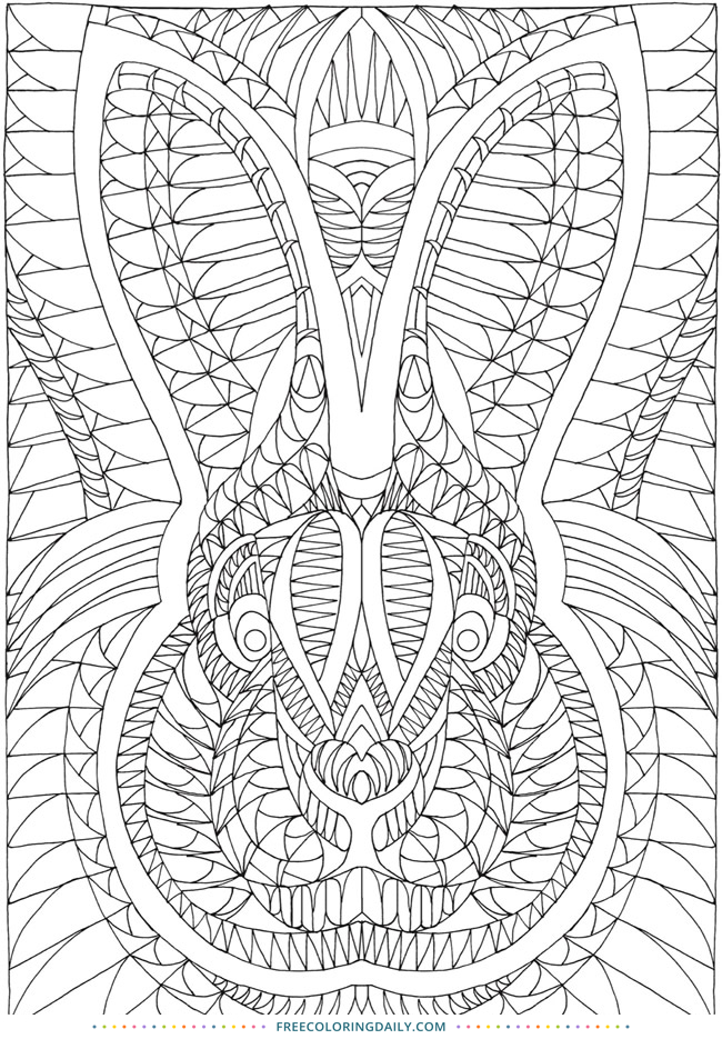 Free Patterned Rabbit Coloring