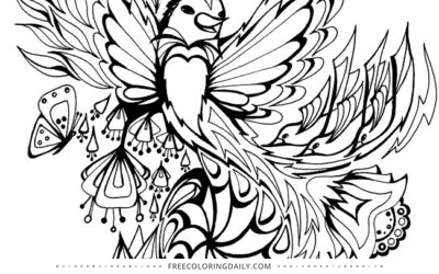 Free Flying Bird Coloring Page