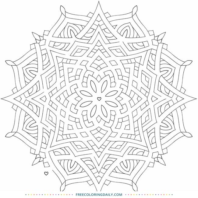 Free Cool Mandala Coloring Design