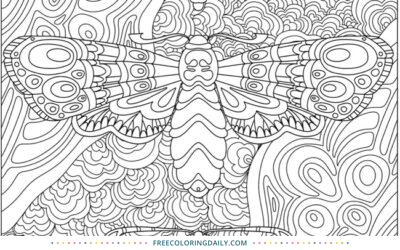Free Fancy Moths Coloring Page