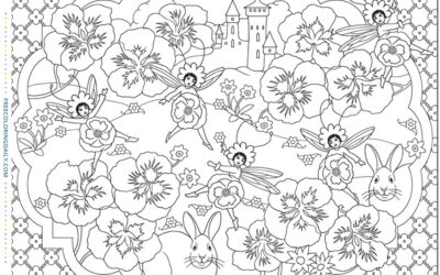 Free Bunny & Flowers Coloring