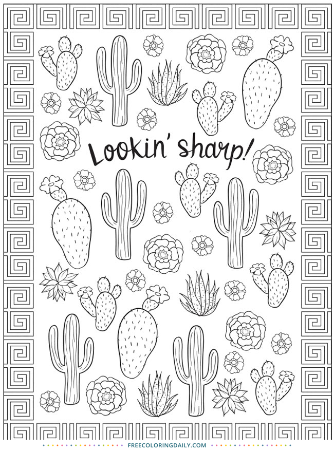 Free Cactus Coloring Page