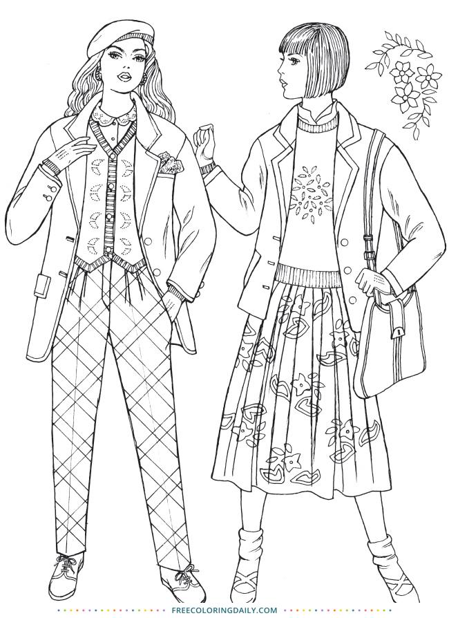Free Retro Fashion Coloring Page