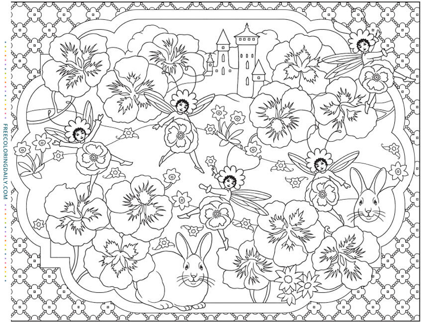 Free Fairy Flowers Coloring