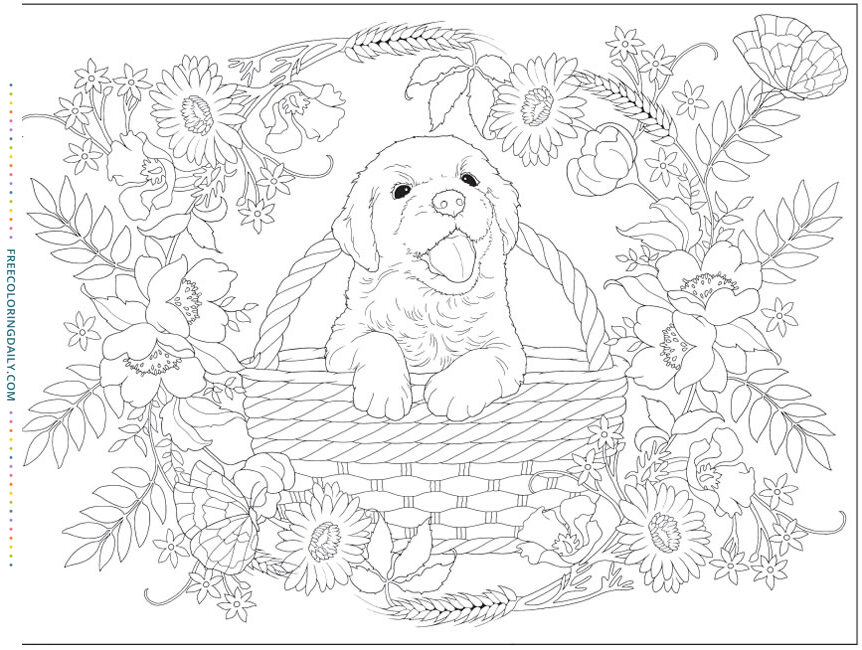 Free Cute Puppy Coloring Page