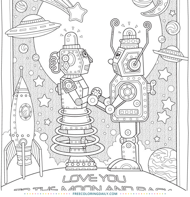 Free Robot Love Coloring Page