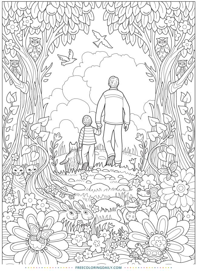 Free Dad & Son Coloring