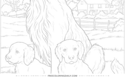 Free Adorable Dogs Coloring Sheet